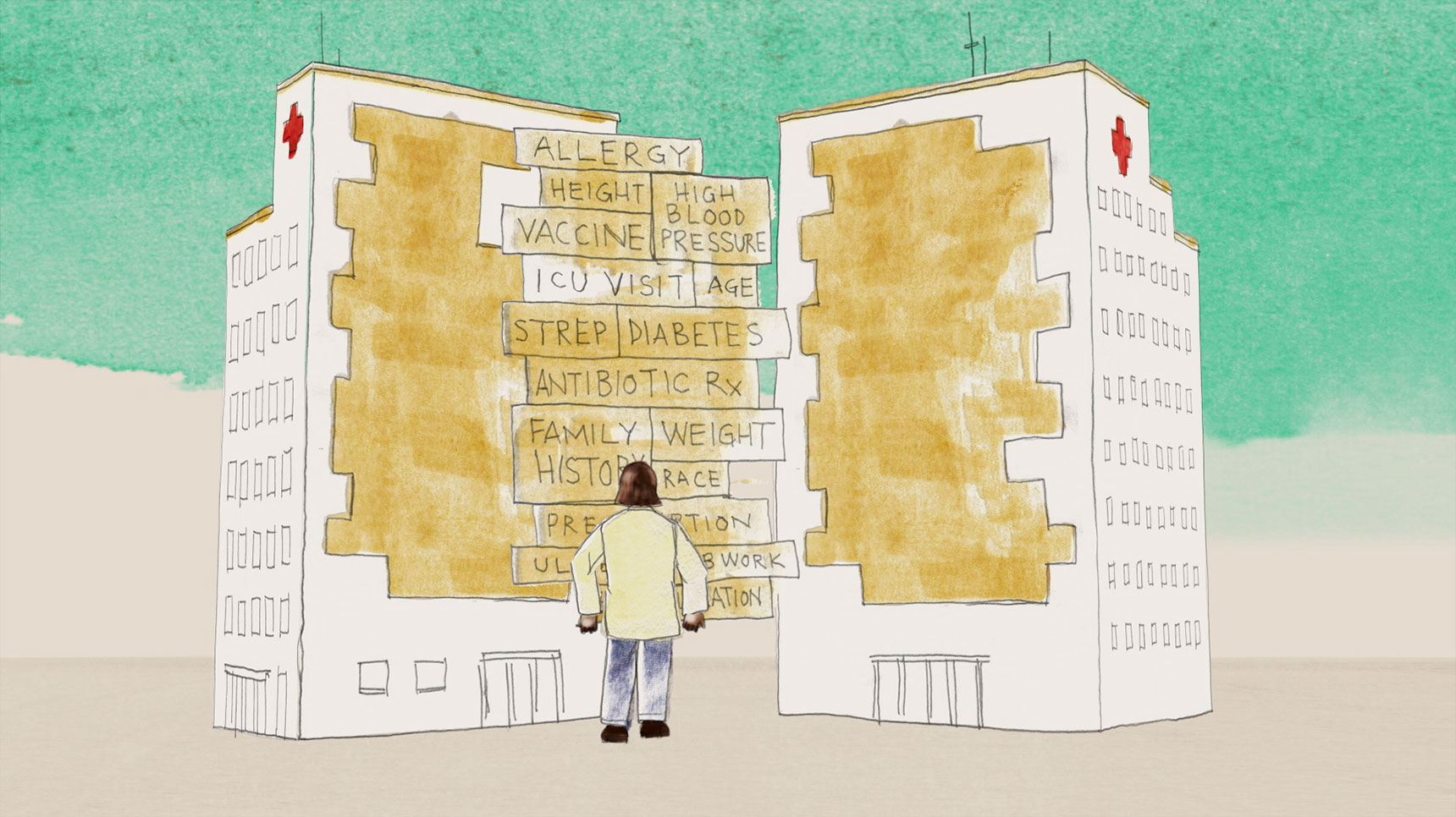 an animated character lifts puzzle pieces from one hospital building to the other